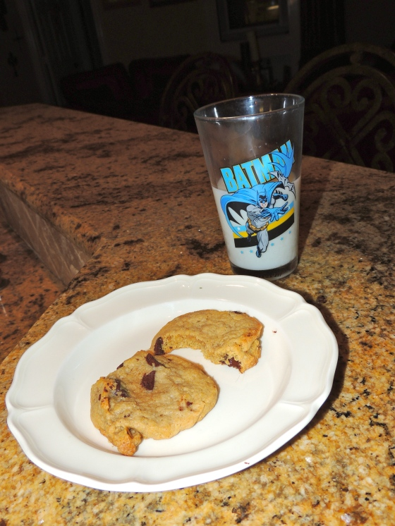 and the Husbands chocolate chip cookies & milk- yes, that IS a batman cup ;)