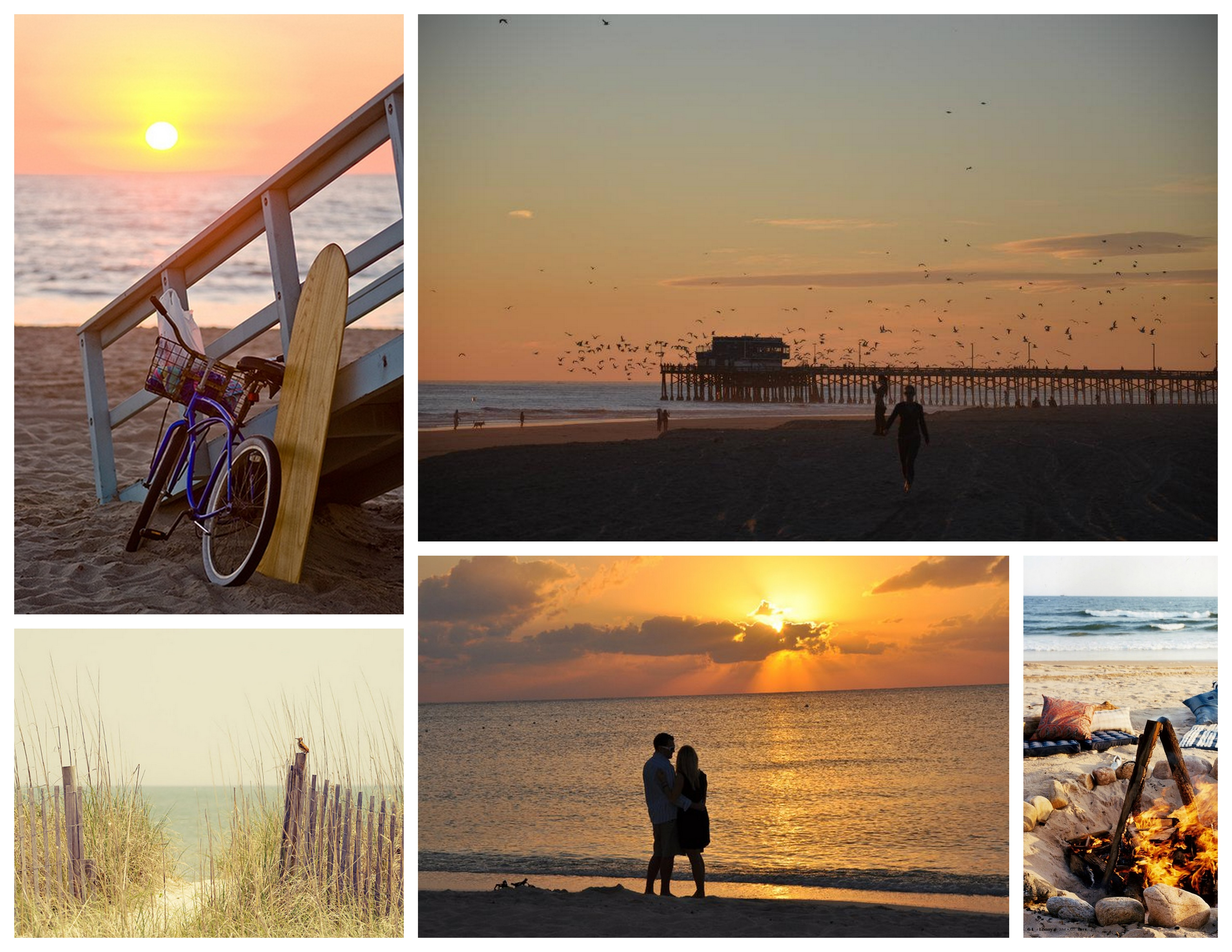 {bicycle :: pier :: dunes :: sunset :: camp fire}